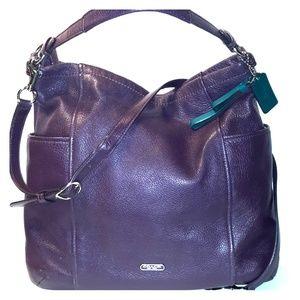Coach Park Leather XL conv Hobo- Dark Plum Purple